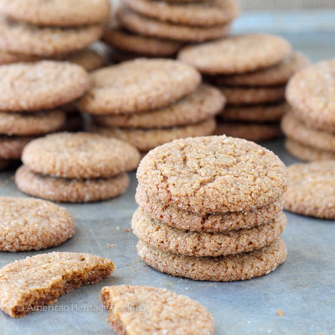 These old fashioned gingersnaps have all the flavors and snappiness of their store-bought counterparts!  And they are EASY!  Gingersnaps in the jar in 45 minutes!