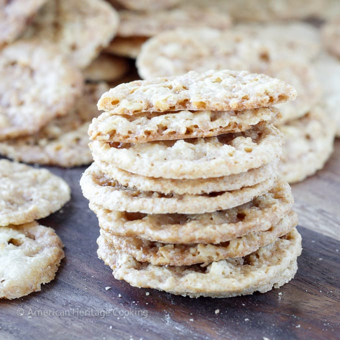 Old Fashioned Oat Lace Cookies Recipe  A beautiful, delicate oat cookie with hints of caramel and an irresistible crunch!