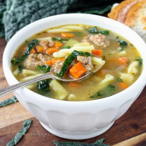 Tuscan Vegetable Sausage Soup   An easy, flavorful and delightfully filling soup! The secret is in the broth!