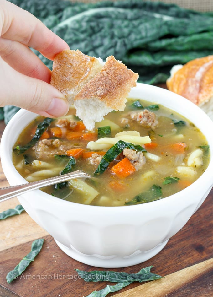 Tuscan Vegetable Sausage Soup | An easy, flavorful and delightfully filling soup! The secret is in the broth!