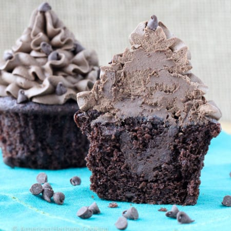 These are really The BEST Death by Chocolate Cupcakes! Double chocolate cake filled with German's chocolate ganache all topped with a silky dark chocolate buttercream!