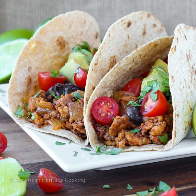 Healthy Chipotle Chorizo Chicken Tacos