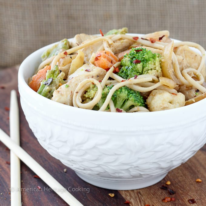 Dinner on the table in less than 20 minutes with this easy Thai Peanut Chicken Noodle Stir Fry!!   Mixed vegetables and chicken are tossed with whole wheat udon noodles and a spicy sweet Thai peanut sauce!