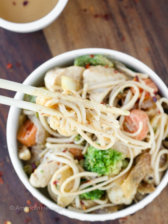 Easy Thai Peanut Chicken Noodle Stir Fry