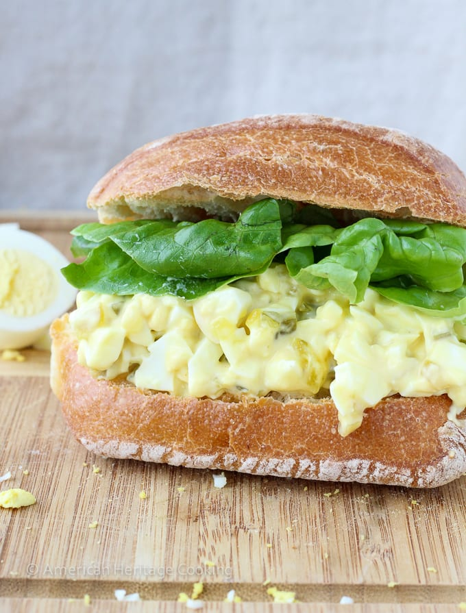 This Deviled Egg Salad Sandwich has all the flavors of deviled eggs on a toasted ciabatta roll! The perfect easy lunch or dinner!