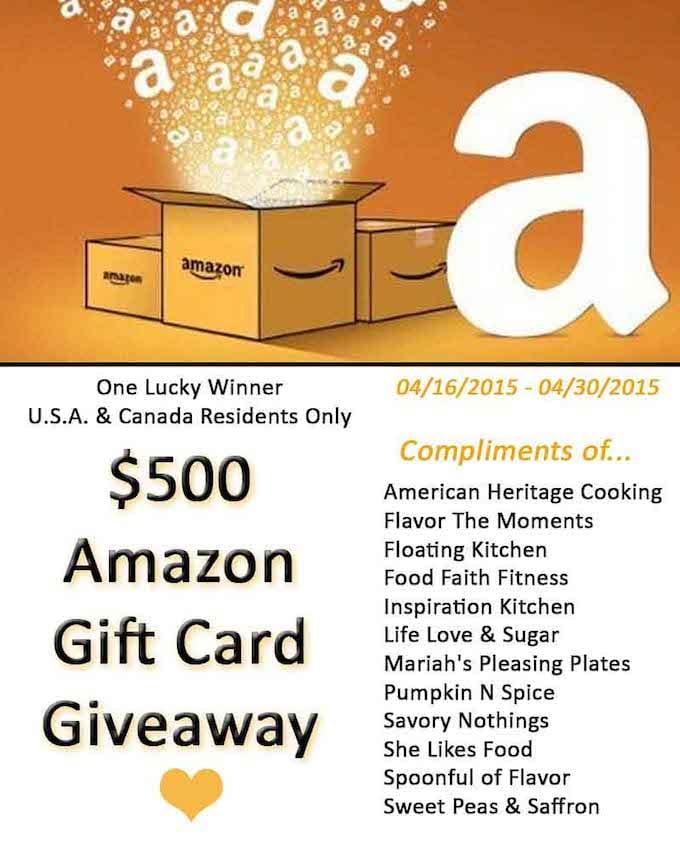 An amazing $500 Amazon Gift Card Giveaway!!!!