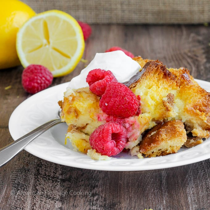 Lemon Raspberry Bread Pudding {Lemon Brandy Sauce}