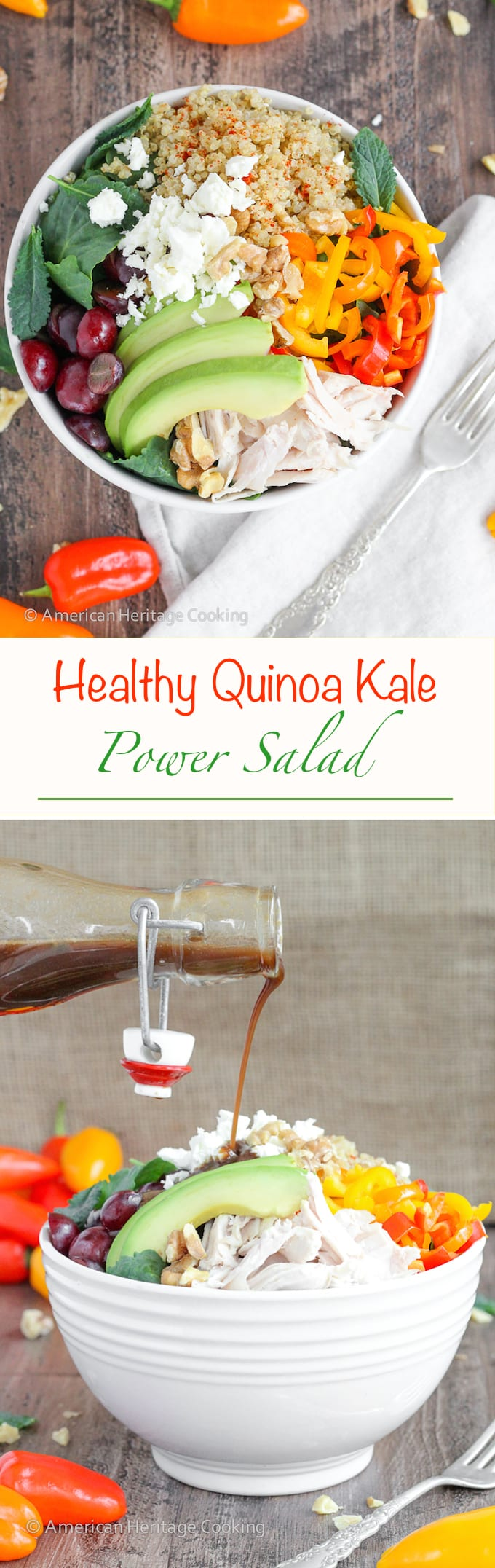 This Quinoa Kale Power Bowl is packed with vitamins, minerals, healthy fats and filling protein! Plus it is a super easy recipe that is perfect for lunch or dinner!