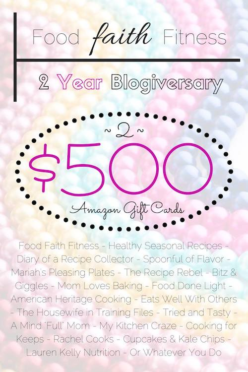 A fantastic Giveaway celebrating the Two Year Anniversary of Food Faith Fitness!!