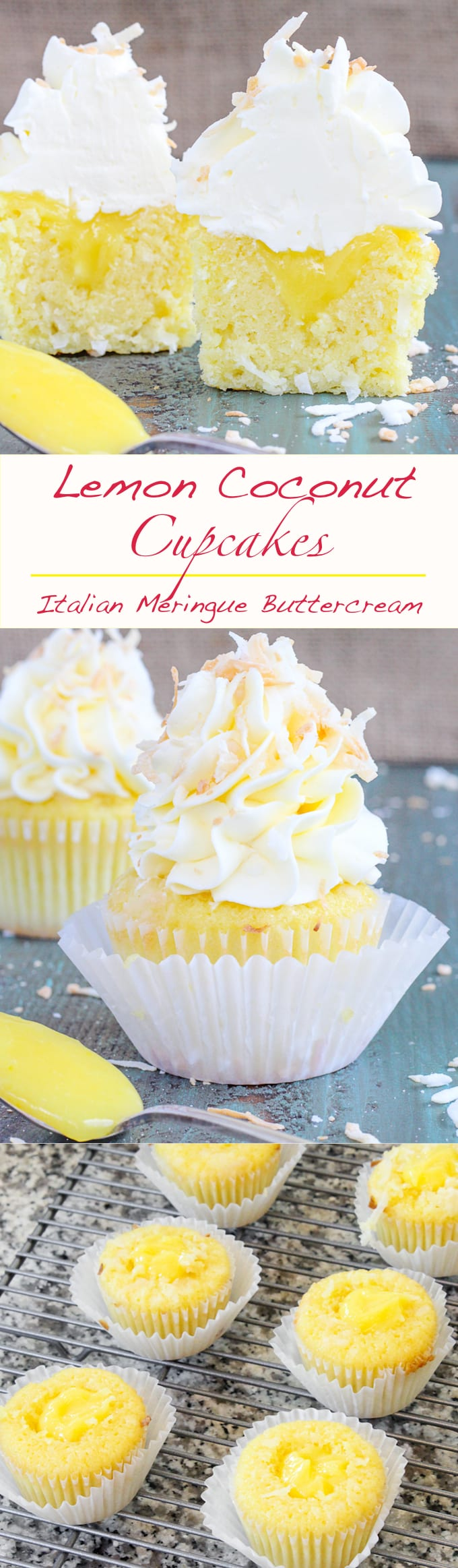 In these Lemon Coconut Cupcakes a moist coconut cupcake that is made with both dried coconut and coconut milk is filled with lemon curd and then topped with a coconut Italian Meringue Buttercream.  And then topped off with some more toasted coconut.