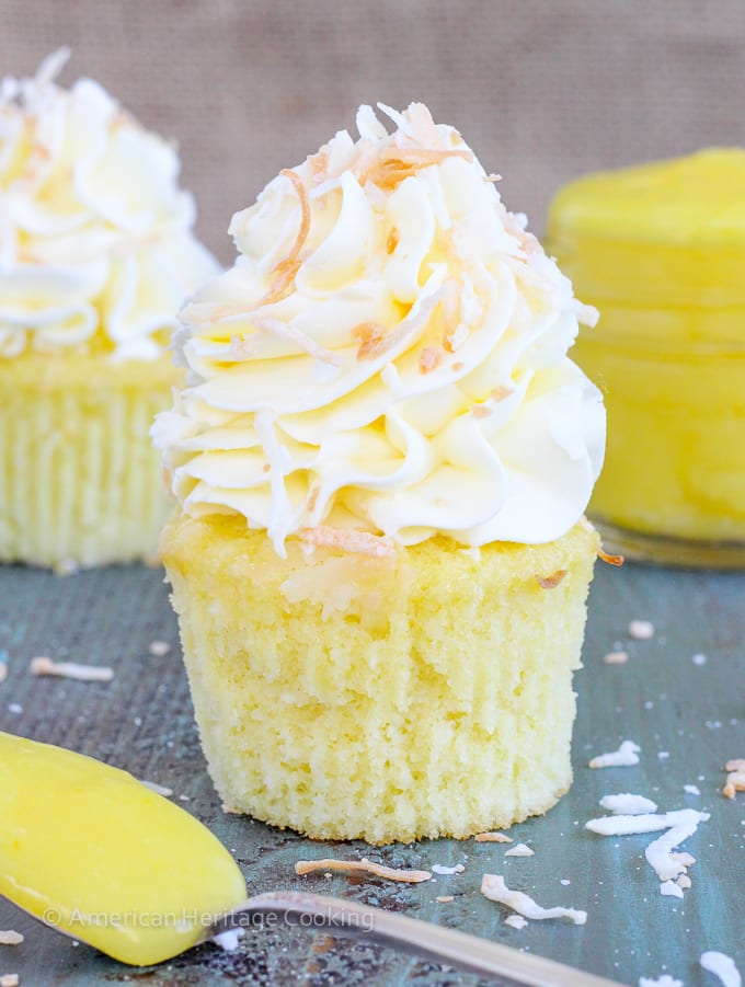 In these Lemon Coconut Cupcakes a moist coconut cupcake that is made ...
