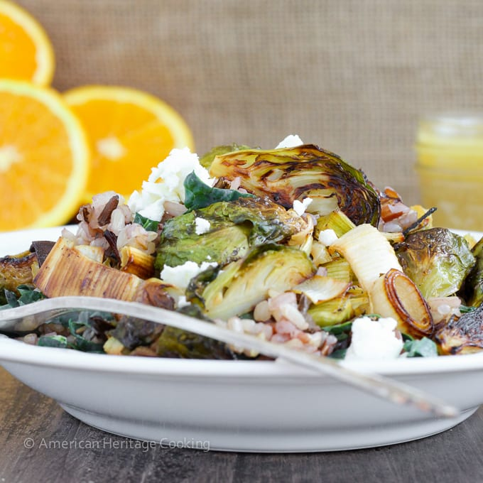 Roasted Honey Orange Brussels Sprouts Wild Rice Salad