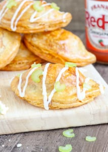 The Buffalo Chicken Blue Cheese Hand Pies will be a HUGE hit at your next party! All the flavors of Buffalo Chicken Wings in a flakey, all-butter pastry!