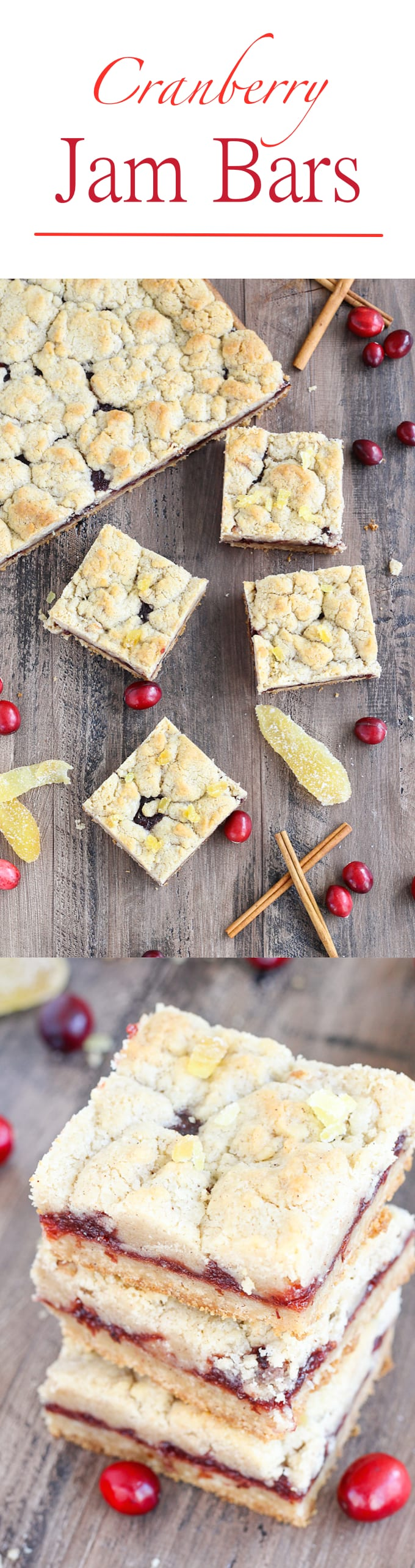 There are few homemade desserts easier than jam bars and these Cranberry Cinnamon Jam Bars are not only easy they pack serious holiday flavor! The cinnamon streusel doubles as both the top and bottom crusts with a gooey, spiced cranberry filling in between.