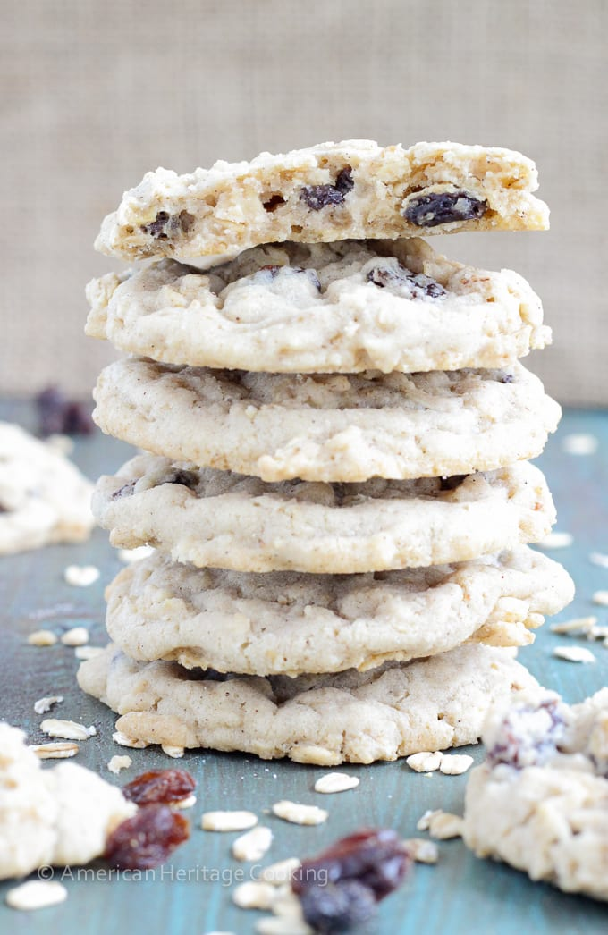Nana's Oatmeal Raisin Cookies are sweet and chewy with the perfect ratio of raisins and oatmeal to cookie dough!