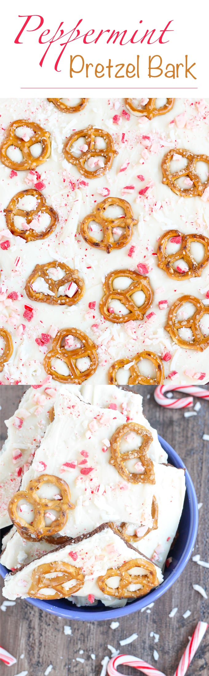 """This easy Coconut Peppermint Pretzel Bark is a minty mix of white and dark chocolate with candy cane """"snow"""", salty pretzels and a hint of coconut! You will love the holiday mint flavor!"""