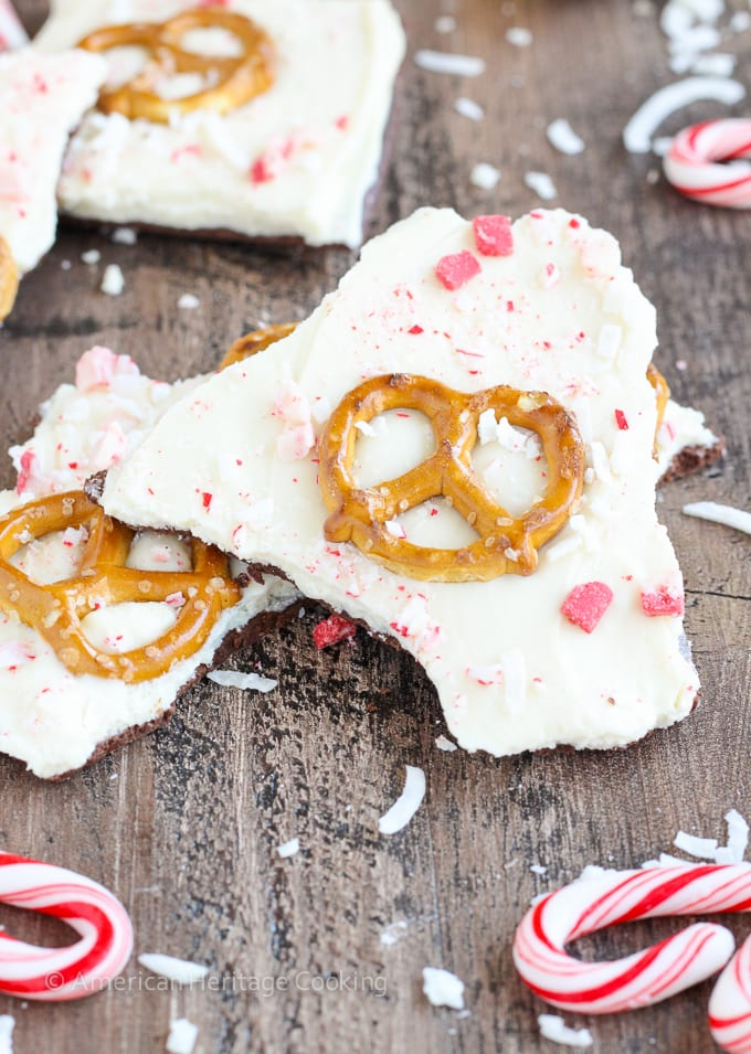 "This easy Coconut Peppermint Pretzel Bark is a minty mix of white and dark chocolate with candy cane ""snow"", salty pretzels and a hint of coconut! You will love the holiday mint flavor!"