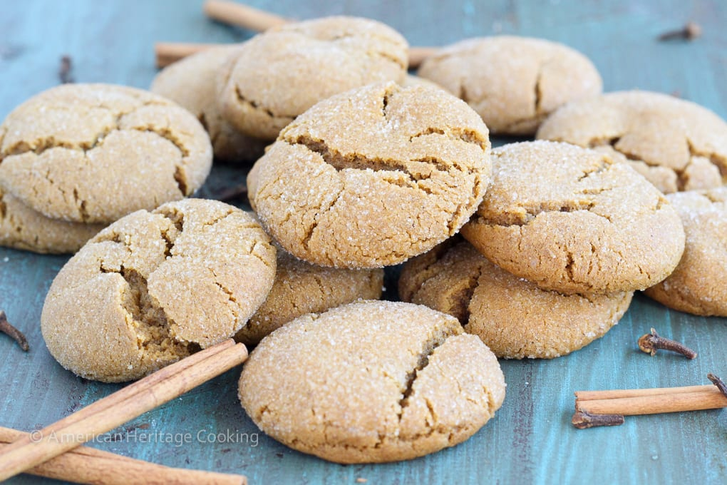 These Spiced Crinkle Cookies are soft pillows of molasses and spice. They have a beautiful balance of molasses flavor, spice and sugar without being overly sweet or spicy!