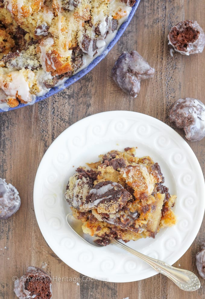 This Coffee Donut Bread Pudding takes everything you love about breakfast and bakes it into one easy dish! Cake donuts baked in a coffee custard for the perfect addition to brunch!