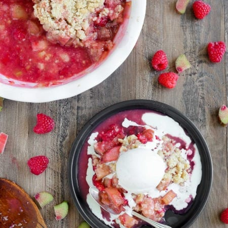 Grandmas Raspberry Rhubarb Crumble is the perfect balance of tart and sweet! The rhubarb is tender and still has a little bit of sour bite. And the cinnamon crumble on top…don't even get me started! It is the best crumble I've ever had!