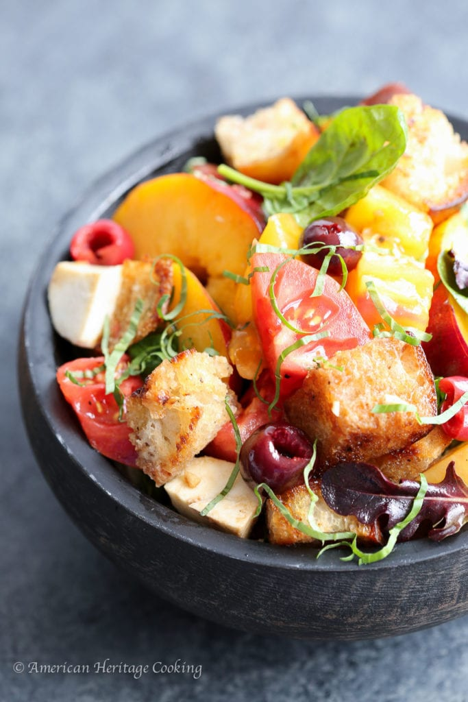 Stone Fruit Caprese Panzanella Salad