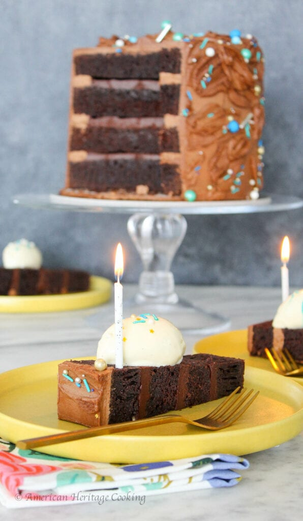 This Devil's Food Cake is rich and perfect for layering in a tiered cake! Layer with a dark chocolate ganache and chocolate Italian Meringue Buttercream for a delicious cake that is fit for a birthday celebration!