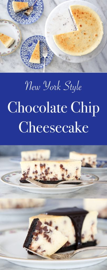 This Chocolate Chip Cheesecake has an easy oreo crust! It is silky and dense, yet surprisingly light! You can't go wrong with the traditional texture and tang of a NY Style Cheesecake!