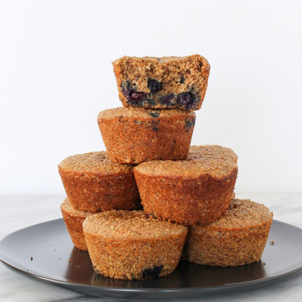 These Blueberry Banana Bran Muffins are packed with protein, fiber and fruit! The perfect breakfast or snack on the go!