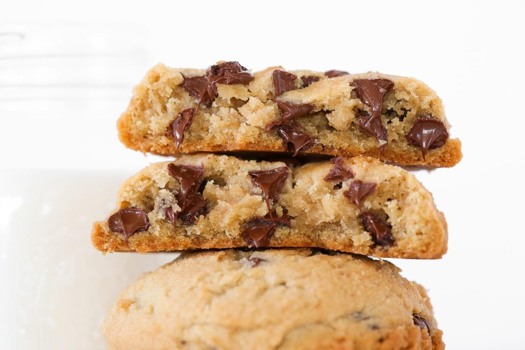 These chewy chocolate chip cookies are perfectly chewy without being under baked! They are packed full of chocolate chips and brown sugar!