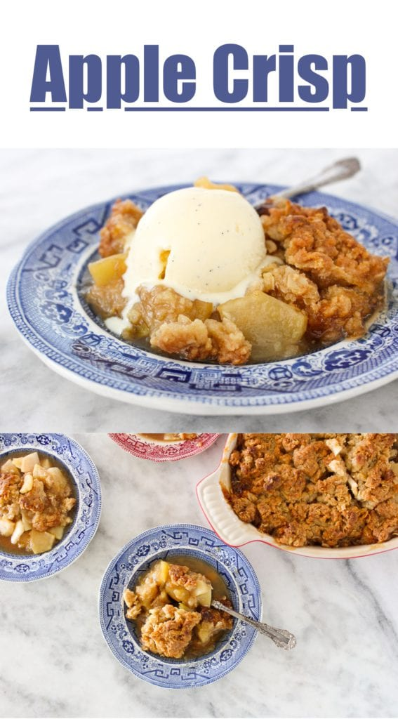 This classic apple crisp with oat streusel is simply flavored with lemon and brown sugar to let the apples shine!