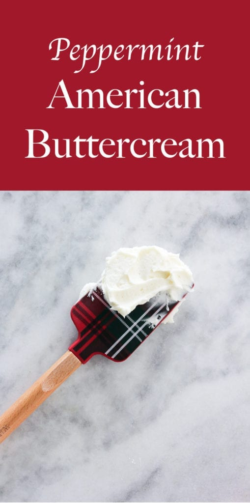 This Peppermint American Buttercream is fast, easy and perfectly peppermint! Spread it on brownies, cookies or cakes for a festive holiday dessert!