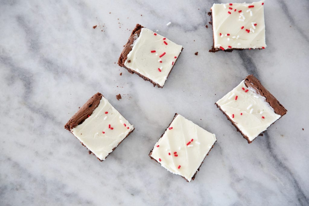These Peppermint Triple Chocolate Brownies are rich, decadent and festive!