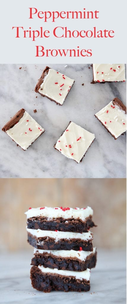 These Peppermint Triple Chocolate Brownies are rich, decadent and festive! Chewy brownies topped with an easy peppermint frosting!